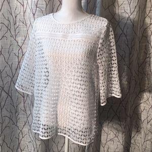 Loft lattice 3/4 sleeve white top lace
